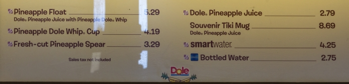 Menu Aloha Isle Dole Whip Magic Kingdom
