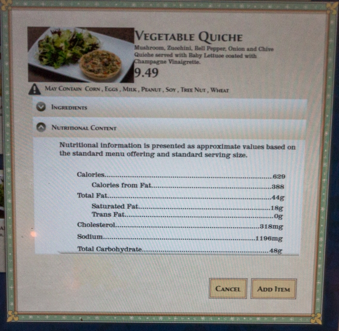 Nutrition Facts be Our Guest Restaurant Quiche Vegetable