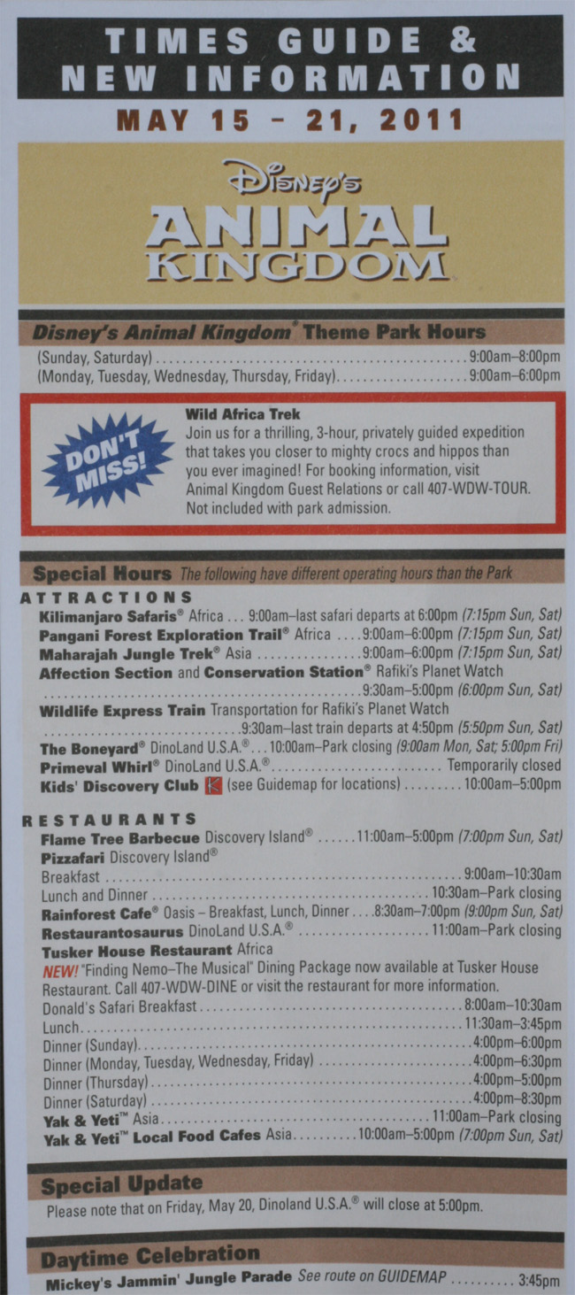 Animal Kingdom Times Guide May 15 21 2011 Front